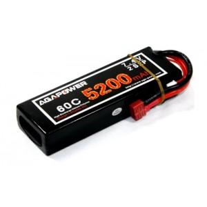 Аккумулятор AGA POWER Li-Po 5200mAh 7.4V 2S1P 60C Hardcase 25x47x138мм T-Plug