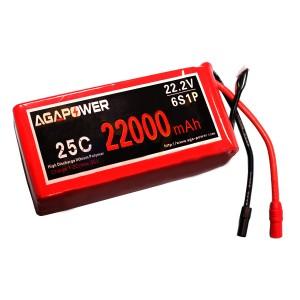 Аккумулятор AGA POWER Li-Po 22000mAh 22.2V 6S 25C Softcase 54x123x215мм AS150+XT150