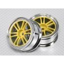 Комплект дисков для автомоделей 1:10 хромированные желтые без вылета (2шт.)