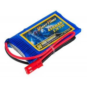 Аккумулятор LiPo Giant Power 450mAh 3.7V 1S 25C 4.5x30x53мм JST
