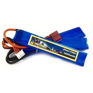 Аккумулятор для страйкбольного привода Li-Po 11.1V 3S 1000mAh 25C нунчаки 5.5х20х103мм T-Plug Giant Power