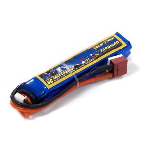 Аккумулятор для страйкбольного привода Li-Po 7.4V 2S 1300mAh 25C 17х18.5х95мм T-Plug Giant Power