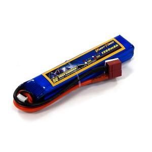 Аккумулятор для страйкбольного привода Li-Po 7.4V 2S 1300mAh 25C 16х20х103мм T-Plug Giant Power
