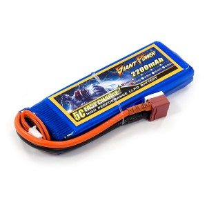 Аккумулятор для страйкбольного привода Li-Po 7.4V 2S 2200mAh 25C 16х33х102мм T-Plug Giant Power