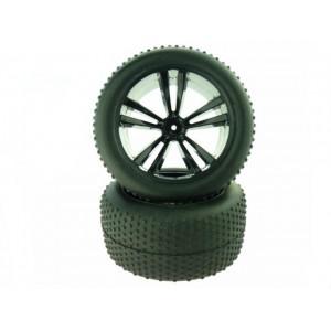 31504BBlack Truggy Tires and Rims 2P